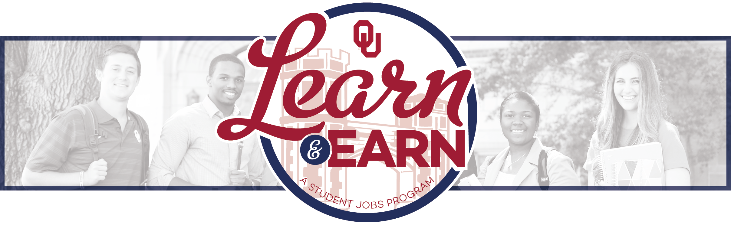 OU Learn & Earn logo with students in the background.