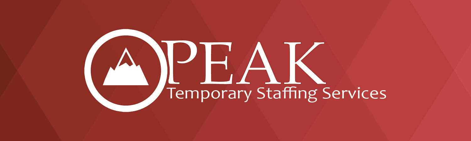 Red background with PEAK logo. Text says: Peak Temporary Staffing Services